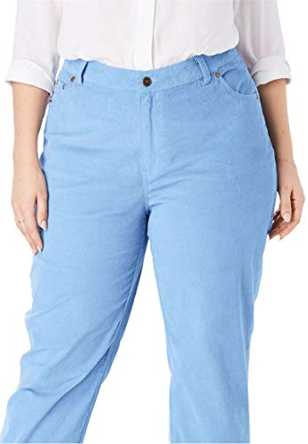 Leg Straight Blues Corduroy (Woman Within Plus Size Corduroy Straight Leg Stretch Pant - Blue Cloud, 20 W)