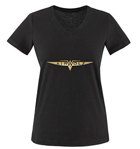 Negro Camiseta Manga wolf Mujer Corta Dorado Negro Air nzFTzqX