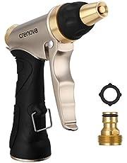 Pistola de Riego | Crenova HN-01 Pistola para Manguera de riego para el jardín - Alta Presión - Metálico 100% - Regulable del Caudal de Agua - Robusto para Lavado de Coches, Riego de Jardín / Césped
