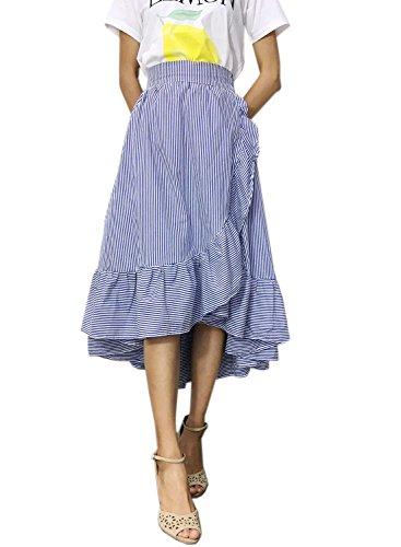 Futurino Women's Stripe Flounce High Low Hem Swing Maxi Wrap Skirt