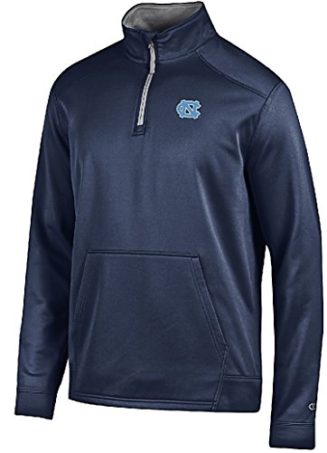 UNC Tar Heels Mens Marine Navy Champion Athletic Fleece Synthetic Quarter Zip Sweatshirt (X-Large)