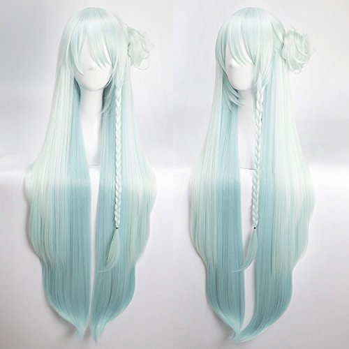 Xingwang Queen Anime Cosplay Wig Long Straight Light Blue Mixed White Paty Wigs with free cap