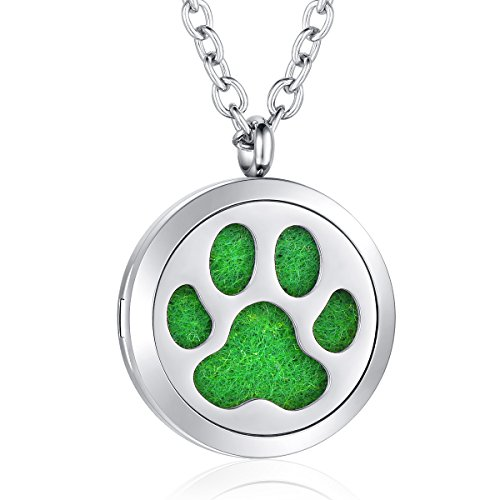 Dog Paw Diffuser Necklace Aromatherapy Essential Oil Locket Jewelry for Women Girls Boys Kids
