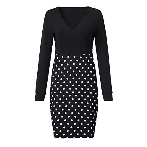 kaifongfu Boho Dress Womens V Neck Dot Print Maxi Dress Summer Beach Long Sundress(Black,S) (Sweatshirt Vintage Glamour)