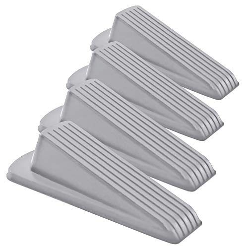 Home Premium Rubber Door Stopper - Multi Surface Door Stop Wedge with Heavy Duty Design - Flexible and Non Scratching Door Holder (4 Pack, Gray)