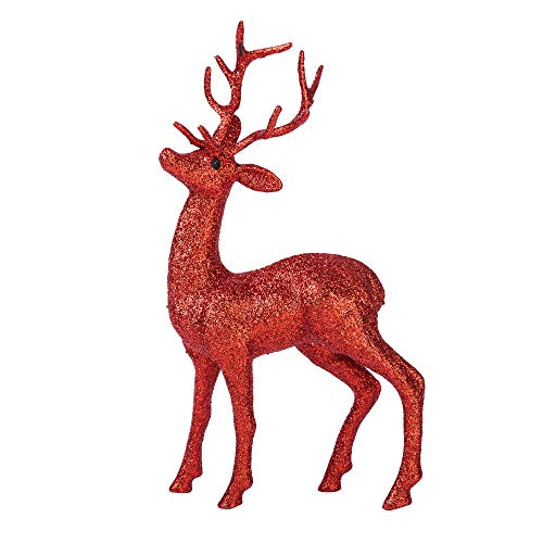 (Xena 1 Piece Red Elegant Sparkly Beautiful Vintage Christmas Reindeer Home Standing Decoration Tabletop Coffee Table Decor Figurine Statue Large 11 Inch Holiday Glitter)