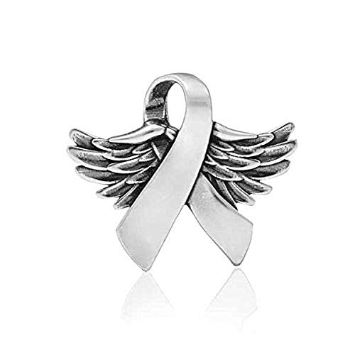 STERLING SILVER WINGS OF HOPE AWARENESS RIBBON SLIDE PENDANT WITH WINGS