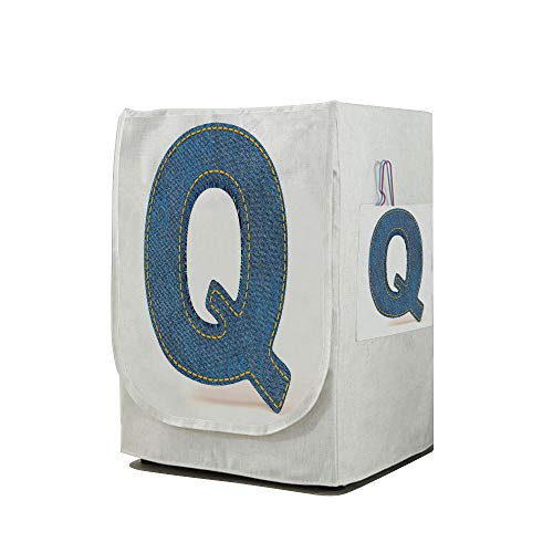Price comparison product image Washing Machine Cover Waterproof Dust-proof Front Load Washer & Dryer Cover, Letter Q, Conceptual Font Design with Denim Fabric Texture Image Shape of Capital Letter Q Decorative, Blue Yellow, for Home De