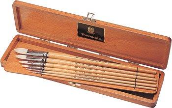 Escoda Brush Clasico Wood Box Set Filbert by Escoda