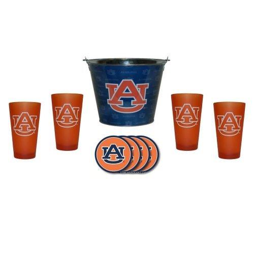 NCAA Auburn - Tonal Wrap Beer Pail, Color Frost Pint Glasses (4) & Vinyl Coasters (4) Set | Auburn Tigers Beer Bucket Gift Set