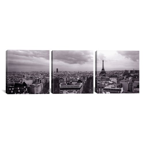 Icanvasart 3 Piece Eiffel Tower Paris  France By Panoramic Images Canvas Art Print  48 By 16 Inch