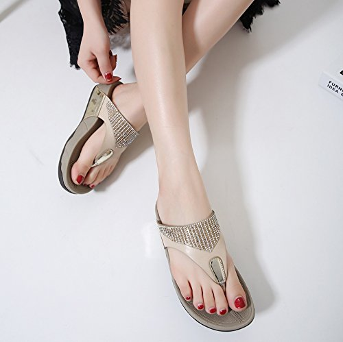 apricot flops flip Pinch Non Female leader Beauty Thick sandals heel Slipper slip Rhinestone 4cm Eq5OOBtnwv