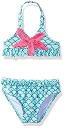 Jantzen Little Girls\' Toddler 2 Piece Ocean Dreams Shell Print Halter Bikini, Aqua, 2T