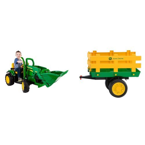 peg-perego-john-deere-green-ground-loader-ride-on-with-green-stakeside-trailer-ride-on-bundle