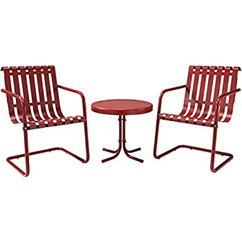 Superior Crosley Furniture Gracie 3 Piece Retro Metal Outdoor Conversation Set With  Side Table And 2
