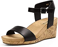 DREAM PAIRS Women's Open Toe Buckle Ankle Strap Platform Wedge Sandals