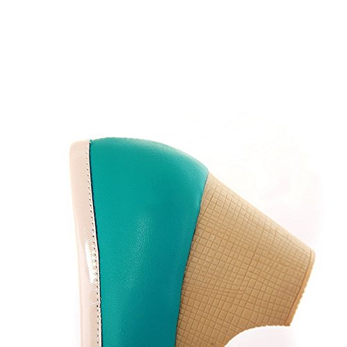 AllhqFashion Mujer PU Slip-on Tacón Medio Material Suave Puntera Redonda ZapatosdeTacón Verde