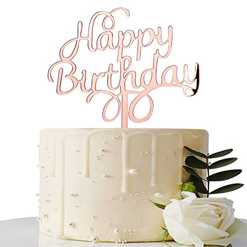 (Mirror Rose Gold Happy Birthday Cake Topper - Birthday Party Decorations - Personalised Cake Topper)