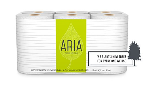 Aria Premium, Earth Friendly Toilet Paper, 12 Mega Rolls, 12 = 48 Regular Rolls, Eco Friendly Bath ()