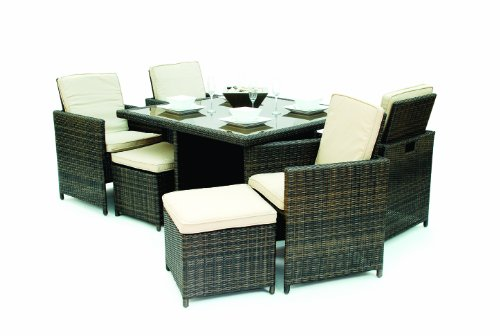 Direct Wicker 9 Pieces Cube Aluminum Frame Wicker Dining Set Indoor/Outdoor 4 Seat Dining Set with Ottomans,Space Saving (Patio Set Cube Furniture Rattan 4 Seat)
