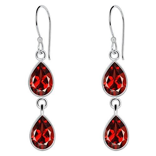 Orchid Jewelry 5 5/6 Carat Garnet 925 Sterling Silver 2-Tier Drop Earrings for Womens (Cluster Garnet Genuine)