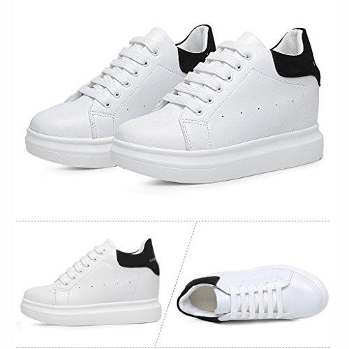 HWF mujer High Calzado Zapatos Color Mujer Bottom Negro School Deportivo Estudiante 36 Verano Secundaria para Tamaño Muffin Junior Escuela Blanco FEqwS1