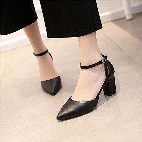 de black sandales boucle solide pengweiCouleur avec ¨¦t¨¦ mode mot Mme un pointue xwApP0qpX8