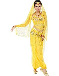Women`s Belly Dance Carnival Costume Set All Accesorries Yellow