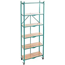 Origami R6-WB-Tqltok 6 Tier with Wood Shelves, Turquoise