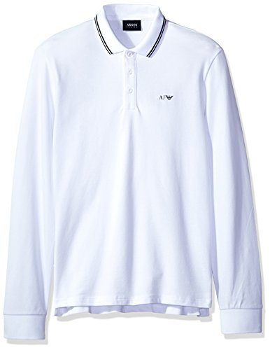 - ARMANI JEANS Men's Slim Fit Long Sleeve Pique Polo Shirt, White, Small