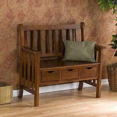 Mission Bungalow Oak Style Entry Storage Bench SEAT