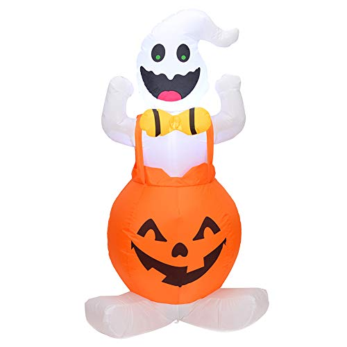 QCUTEP Halloween Inflatable Decoration, 4 Foot Halloween Inflatable Blow Up Ghost on Pumpkin with Internal Lights for Halloween Home Garden Yard Decor]()