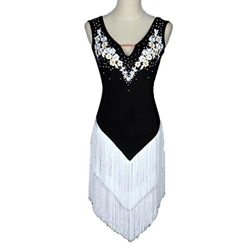 En De Pour Professionnelle Strass Moliyanzi À Femmes White Jupe Compétition Franges Danse Performance Latine Robes Vêtements Robe V Col Applique 1FFwP5