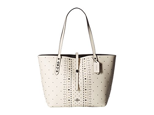 COACH Bandana Rivets Market Tote in Pebble Leather in Chalk / Dark Nickel 55633 by Coach