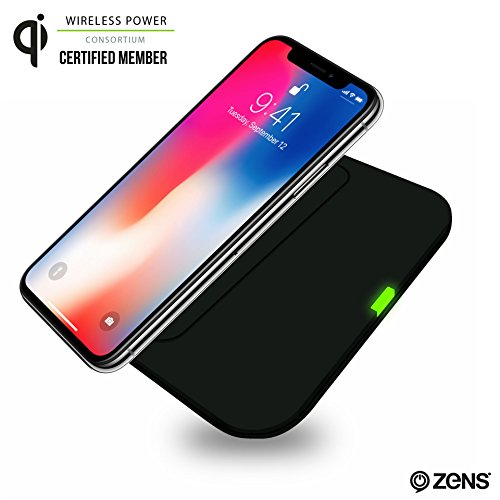 Wireless Phone Charger Pad by ZENS | Qi Charging Pad | 7 Coils for Freedom of Placement & Reliable Charging | Works with iPhone 8/8+/X, Samsung Galaxy S7, S8, and all other Qi enabled devices | Black