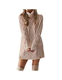 WOCACHI Final Clear Out Womens Knit Sweater Turtleneck Warm Long Sleeve Mini Dress with Pockets Black Friday Cyber Monday Solid Color Autumn Bottoming Shirts Long Tunic Pullover (Khaki, Large)
