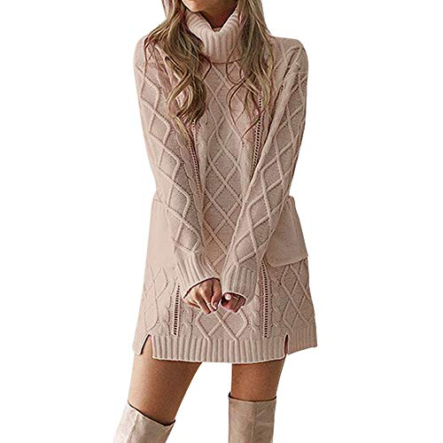 (Kshion Women's Dresses Sexy Winter Sweater Twist Vintage Knit Turtleneck Warm Long Sleeve Pocket Mini Dress (Khaki, M))