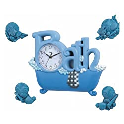 New Haven Bath Clock with Four Shells, Blue