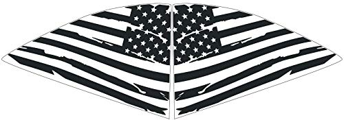 Elevated Auto Styling - Chevy Camaro Distressed American Flag Rear Quarter Window Decal Pair, Matte Black (2016-2018) -