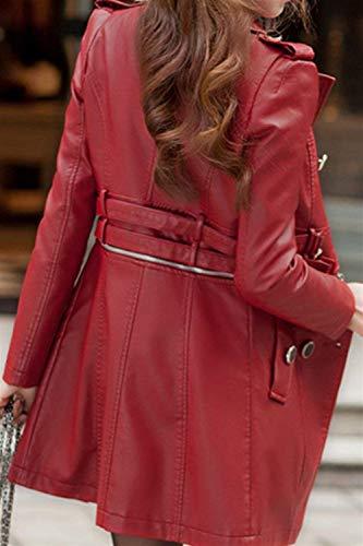 Autunno Biker Eleganti Giubbotto Donna Fashion Rot Breasted Costume Pelle Finta Vintage Jacket Giacca Slim Bavero Double Cappotti Di Fit Moto Manica Lunga Invernali 8fqESw