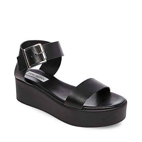 Steve Madden Women's Recover Black Leather Sandal 9.0 US