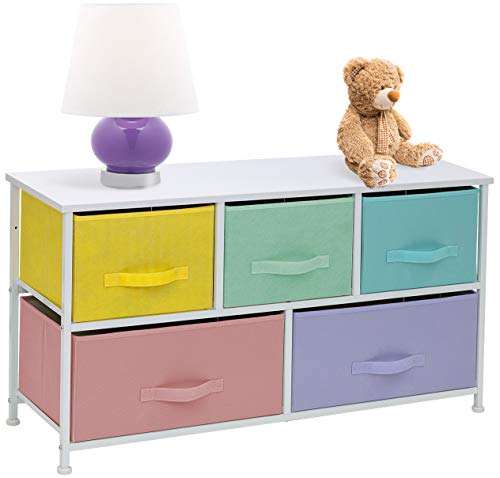Sorbus Dresser with 5 Drawers Furniture Storage Tower Chest for Kid's, Teens, Bedroom, Nursery,Steel Frame, Wood Top, Easy Pull Fabric Bins, Pastel/White (Bedroom Dresser Furniture)