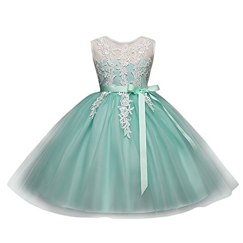 Kids Tutu Dresses Toddler Baby Girls Sleeveless Floral Print Lace Backless Tulle Bubble Bowknot Princess Clothes (Size:3T, Mint Green) -