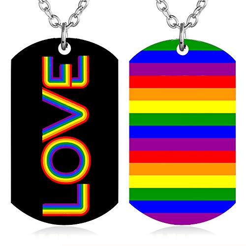 - FAYERXL Gay Pride Rainbow Dog Tag Necklace LGBT Lesbian Men Women Stainless Steel Love Pendant Jewelry