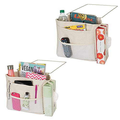 mDesign Bedside Hanging Storage Organizer Caddy Pocket - 5 Pockets, Elastic Side Straps for Tissue Box - Heavy Weight Cotton Canvas, Metal Wire Hanger, 2 Pack - Cream/Satin