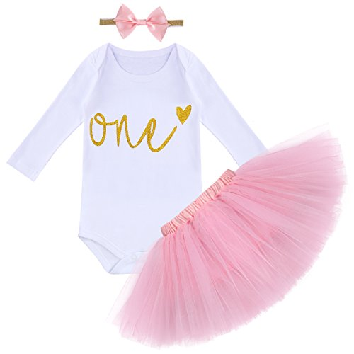 It's My First 1st Birthday Outfit Baby Girls Long Sleeve Romper + Ruffle Tulle Skirt + Sequin Bowknot Headband Shiny Party Princess Dress up Costume for Cake Smash Photo Fall Clothes Pink 1 Year