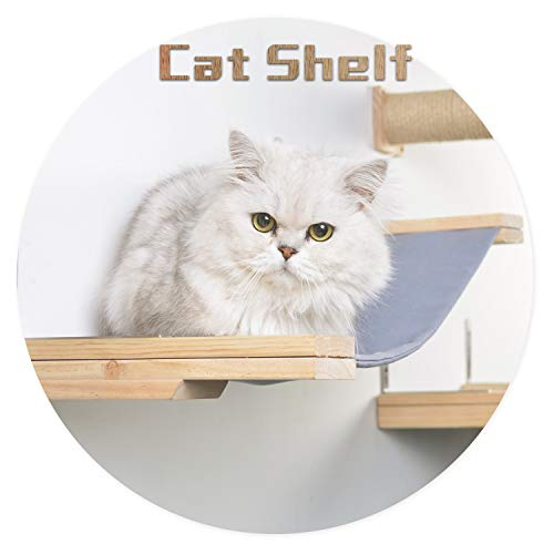 Scurrty Handcrafted Wall Mounted Cat Shelf Wooden Cat Hammock Perch with Bed...