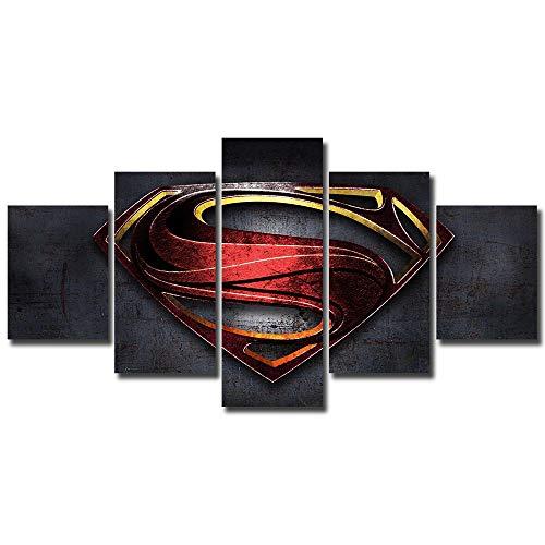 5 panels Superman Canvas Art clark kent dc comics kal Kypton of steel superman logo Wall Multi Piece Print Home - Wall Logo Superman