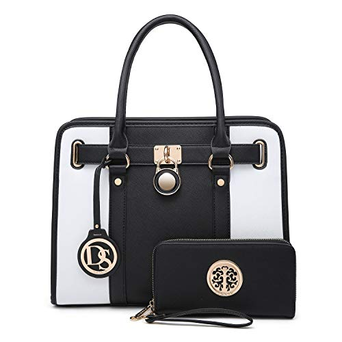 MMK collection Fashion Handbag with coin purse(XL-11) Classic Women Purse Handbag for Women` Signature fashion Designer Purse ~ Perfect Women Satchel Purse (XL-02-7103W-BK/WT)