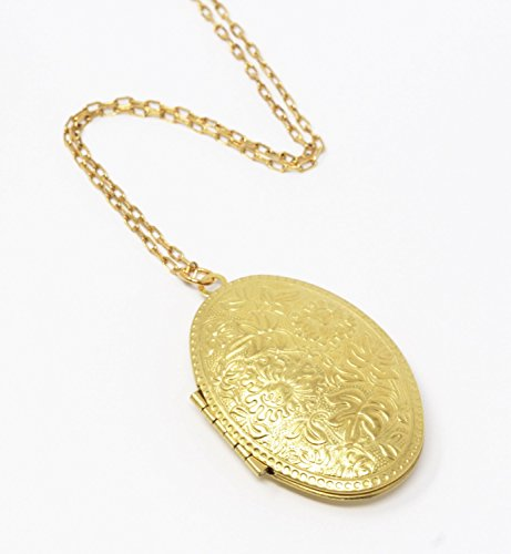 Oval Brass Locket Pendant - 20 Inch (Etched Locket Pendant)